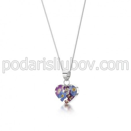 Сребърен медальон, сърце, малко, Виолетова Омая
