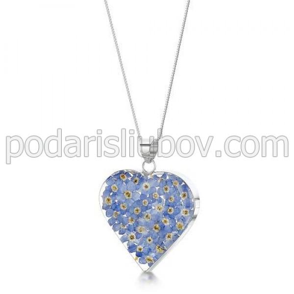 Сребърен медальон, сърце, среден, незабравка