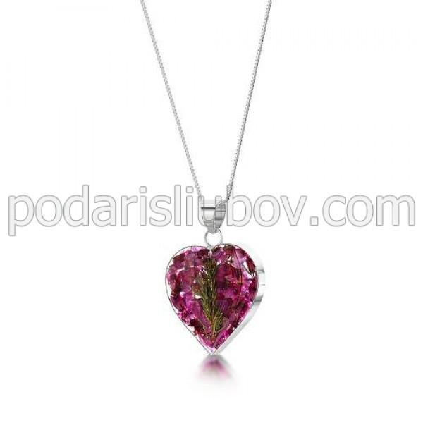 Сребърен медальон, сърце, среден, Зимна Красавица