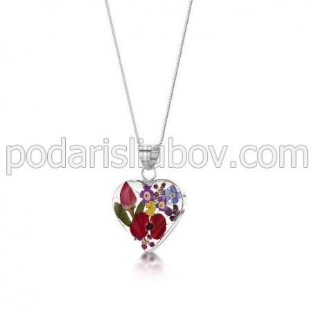 Сребърен медальон, сърце, средно, микс с мак и роза