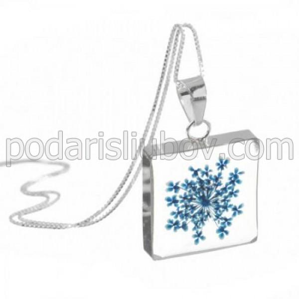 """Сребърен медальон, """"Синя магия"""", квадрат, (голям)"""