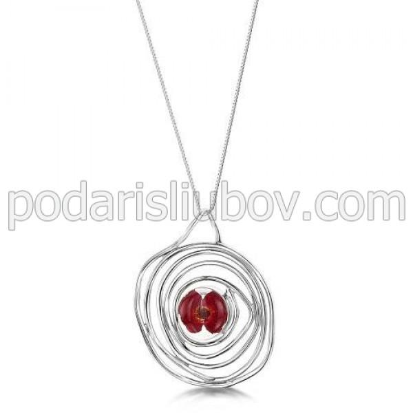 Сребърен медальон, спирала, мак