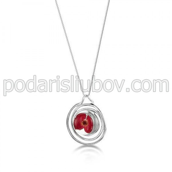 Сребърен медальон, спирала, малък, мак