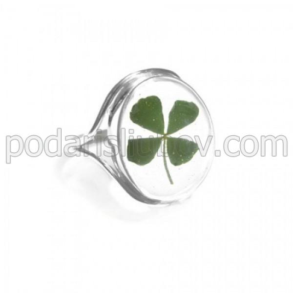Сребърен пръстен, овал, Четрилистна детелина