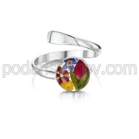 Сребърен пръстен, регулируем, кръг, цветен микс