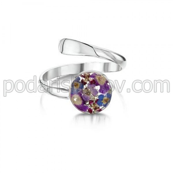 Сребърен пръстен, регулируем, кръг, Виолетова Омая