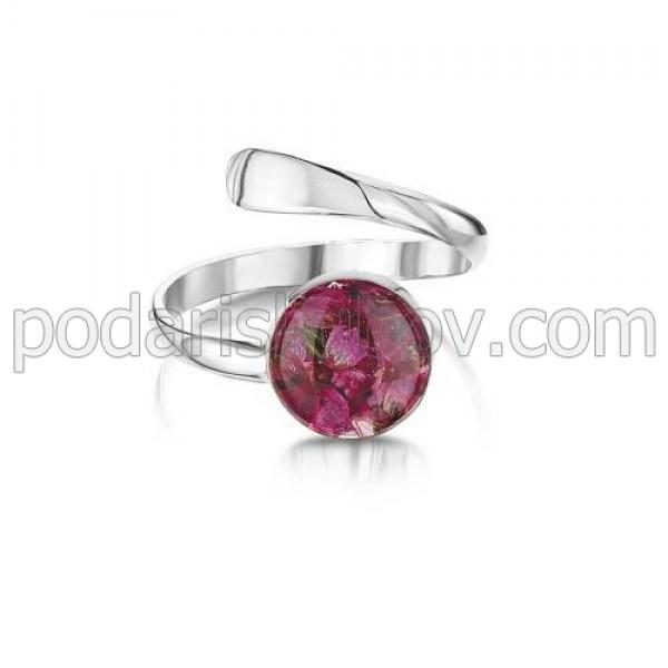 Сребърен пръстен, регулируем, кръг, Зимна красавица