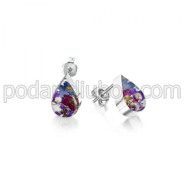 Сребърни обeци, щифт, капка, Виолетова омая