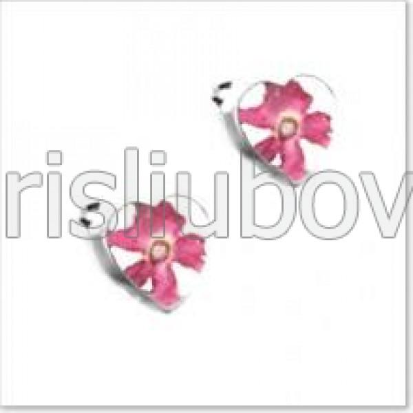 Сребърни обeци, щифт, сърце, розови върбинки