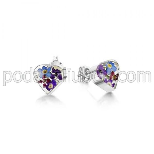 Сребърни обeци, щифт, сърце, Виолетова омая