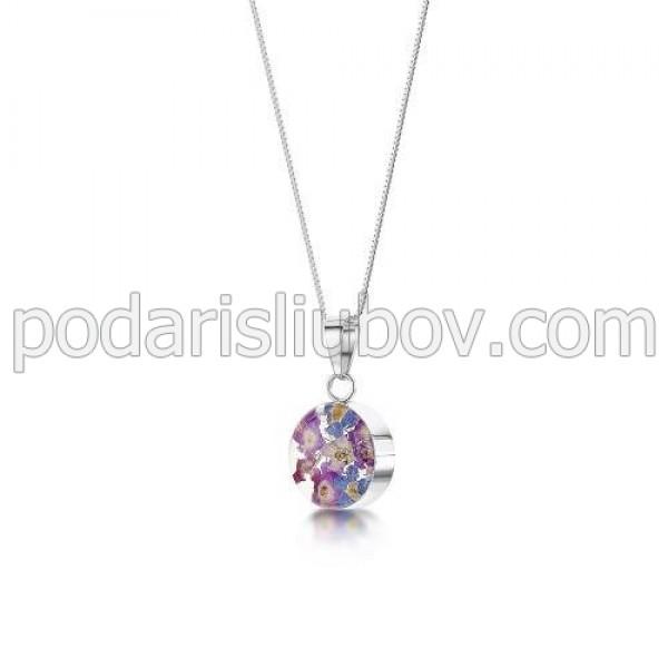 """Виолетова Омая"" сребърен медальон, кръг,  (малък)"