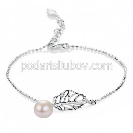 """Сребърна гривна с перла """"Kasumi"""""""