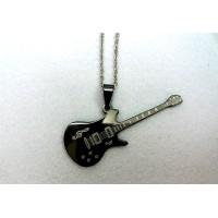 Колие от стомана мини китара, черен цвят