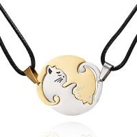 Комплект котки Ин и Ян, златно/сребърни, овал, кожена връв