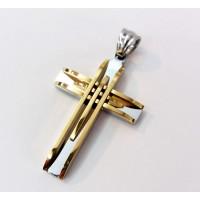 Кръст от медицинска стомана 316L, златисто-сребърен цвят