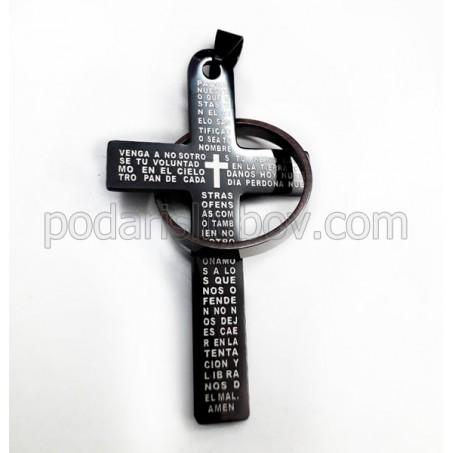 Кръст от медицинска стомана, преплетен с халка, черен цвят