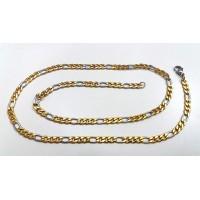Мъжки ланец от стомана, елегантна плетка (златно-сребърен цвят), 55см