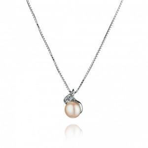"""Висулка със сребърна верижка и перла """"Carla"""""""