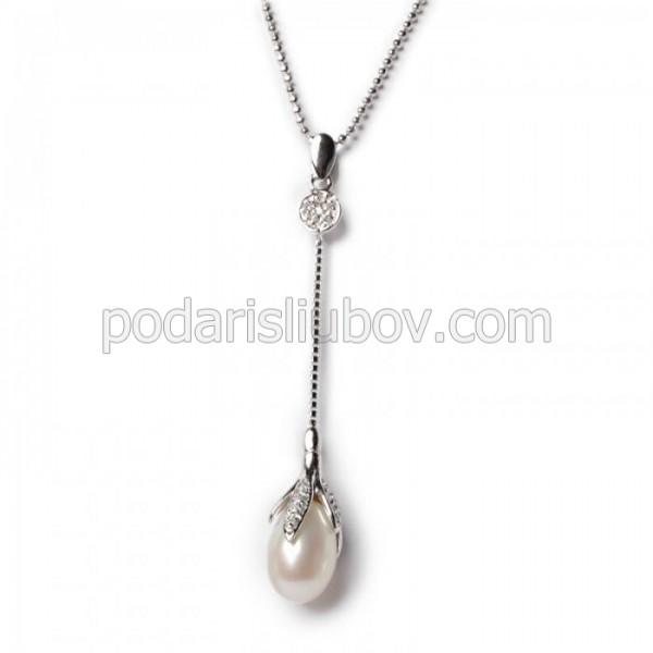 """Висулка със сребърна верижка и перла """"Lunet"""""""