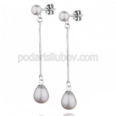 """Висящи обеци от сребро с перла """"Karla"""""""