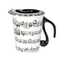 Порцеланова чаша за кафе за музикант, с капак, Увертюра с ноти