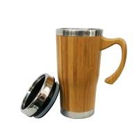 Термос - чаша за кафе - с дръжка от бамбук, с опция за гравиране