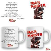 Бяла керамична чаша Iron Maiden