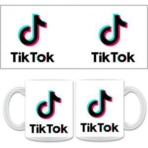 Бяла керамична чаша Tik Tok