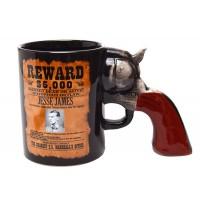 Оригинална чаша за кафе Wanted, дръжка - револвер