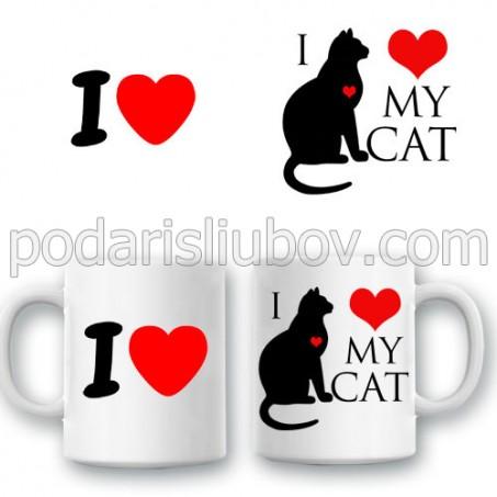 """Керамична чаша """"Аз обичам котката си"""""""