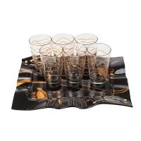 Чаши за вода + поднос, Gold Rose