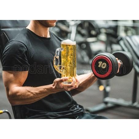 Стъклена халба за бира Мускул, 620мл