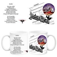 Бяла керамична чаша Judas Priest Painkiller