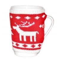 Коледна чаша с плетено елече