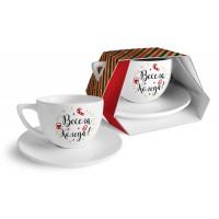 Коледна керамична чаша за кафе с чиния, 400мл