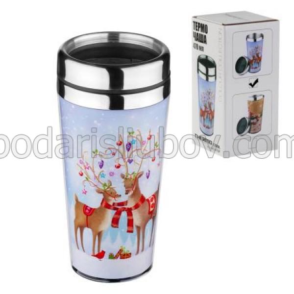 Коледна термо чаша с еленчета