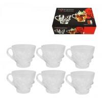 Комплект от 6бр. релефни чаши за кафе, стъкло