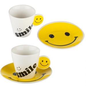 Комплект 2 чаши за кафе с емотикони Усмивка