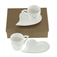 Комплект 2 чаши +2 чинийки сърце за кафе/чай