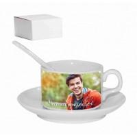 Комплект за кафе със снимка - чаша, лъжичка и чинийка