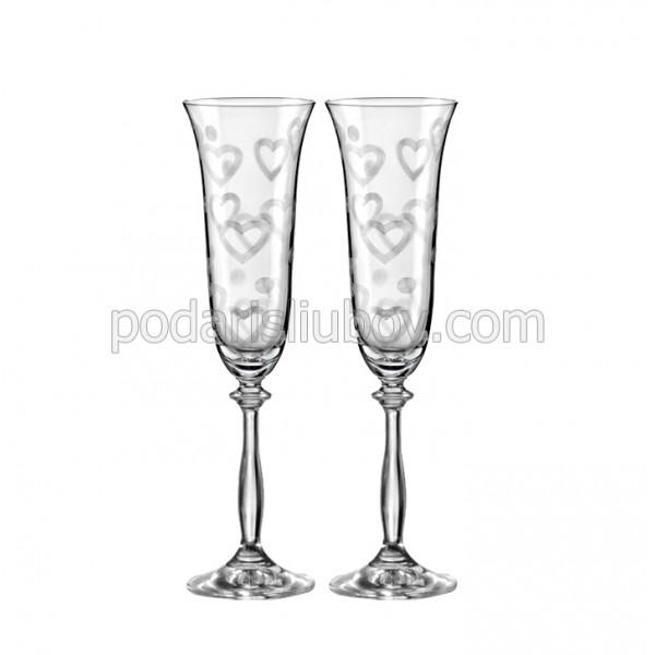 """Кристални чаши """"Обичам те"""", 190мл, 2бр."""
