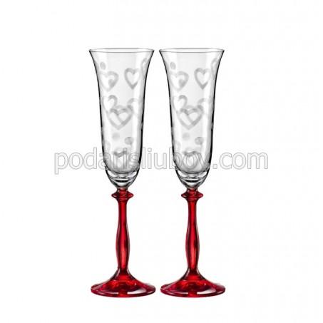 "Кристални чаши с червено столче, ""Любов"", 190мл, 2бр."