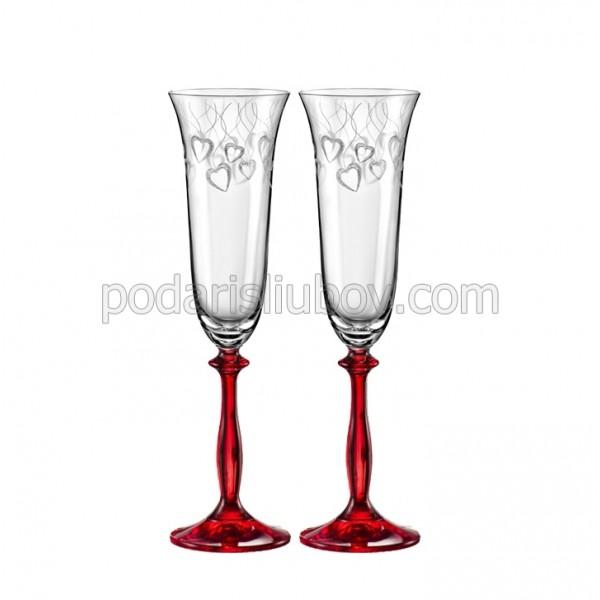 Кристални чаши с червено столче, сърца, 190мл, 2бр.