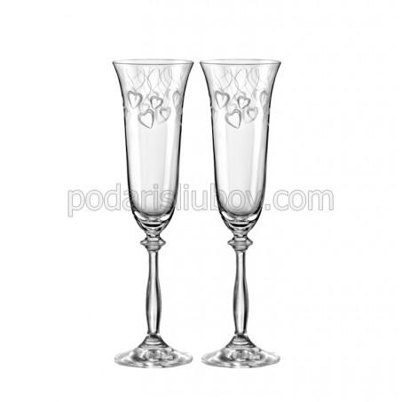 Кристални чаши с декорация със сърца, 190мл, 2бр.