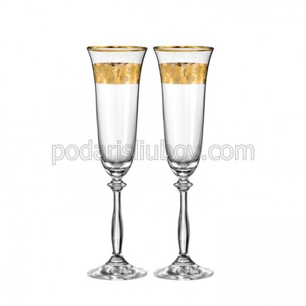 Кристални чаши със златни сърца, 190мл, 2бр.