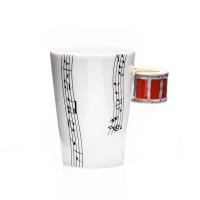 Порцеланова чаша за кафе и чай за музикант, с дръжка барабан