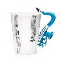 Порцеланова чаша за кафе и чай за музикант, с дръжка саксофон