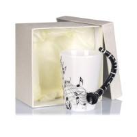 Порцеланова чаша за кафе и чай за музикант, с дръжка кларинет