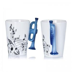 Порцеланова чаша за кафе и чай за музикант, с дръжка тромпет