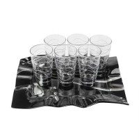 Чаши за вода + поднос, Silver Rose